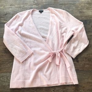 Talbots Pure Cashmere Soft Pink Tie Cardigan Large